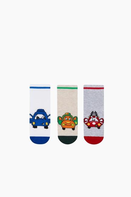Bross - 3'lü Paket Araba Desenli Bebek Çorabı