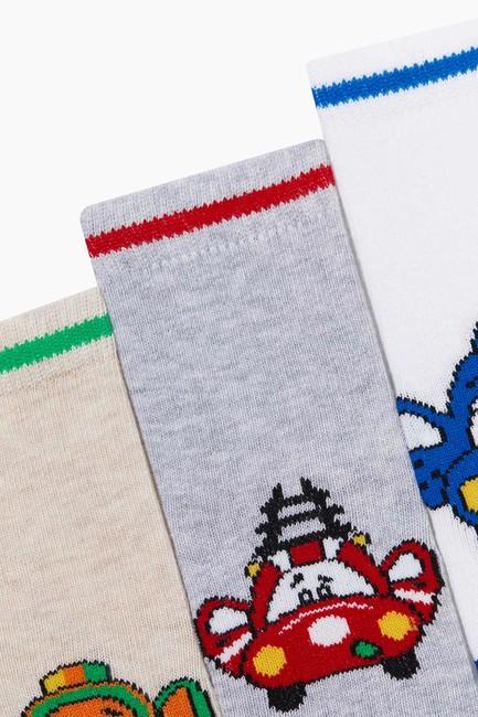 Bross 3'lü Paket Araba Desenli Bebek Çorabı - Thumbnail