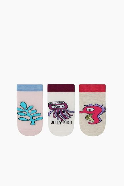 Bross - 3'Lü Paket Deniz Canlıları Desenli Patik Bebek Çorabı Asorti