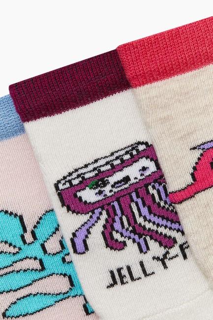 3'lü Paket Deniz Canlıları Desenli Patik Bebek Çorabı - Thumbnail