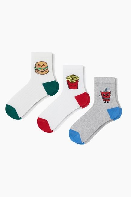 Bross - 3'lü Paket Fastfood Desenli Çocuk Çorabı