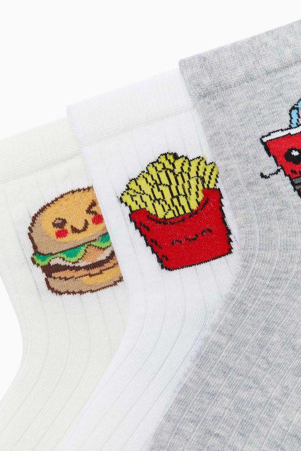 Bross 3'lü Paket Fastfood Desenli Çocuk Çorabı