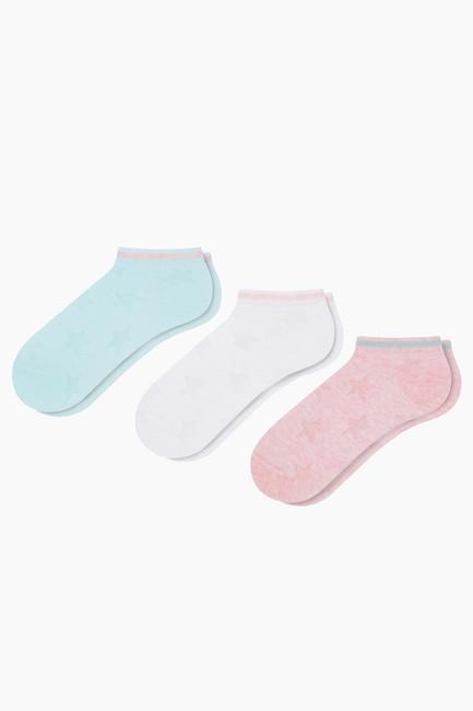 3'lü Paket Kabartmalı Yıldız Desenli Spor Çocuk Çorabı - Thumbnail