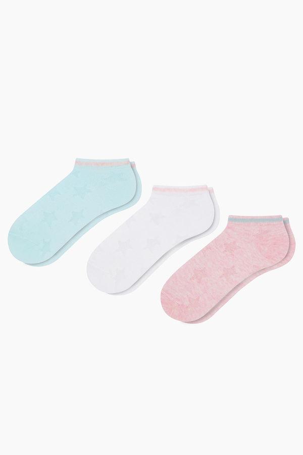 3'lü Paket Kabartmalı Yıldız Desenli Spor Çocuk Çorabı