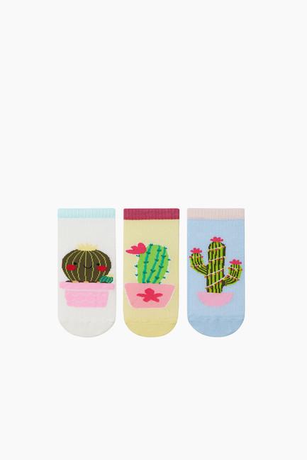 Bross - 3'lü Paket Kaktüs Desenli Patik Çocuk Çorabı