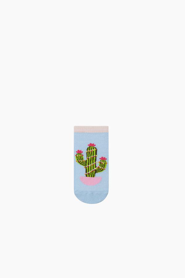 3'lü Paket Kaktüs Desenli Patik Çocuk Çorabı