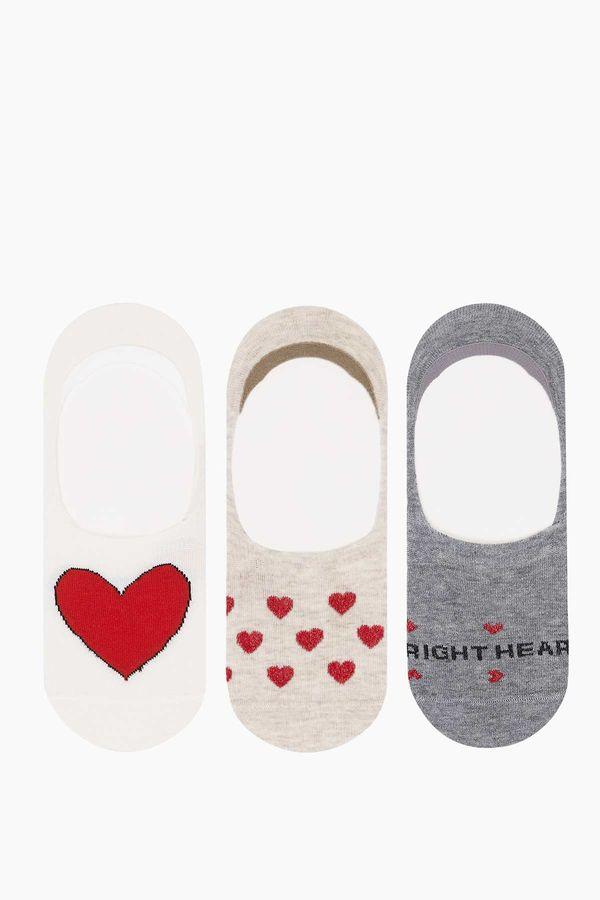 3'lü Paket Kalp Desenli Babet Kadın Çorabı