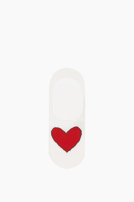 3'lü Paket Kalp Desenli Babet Kadın Çorabı - Thumbnail