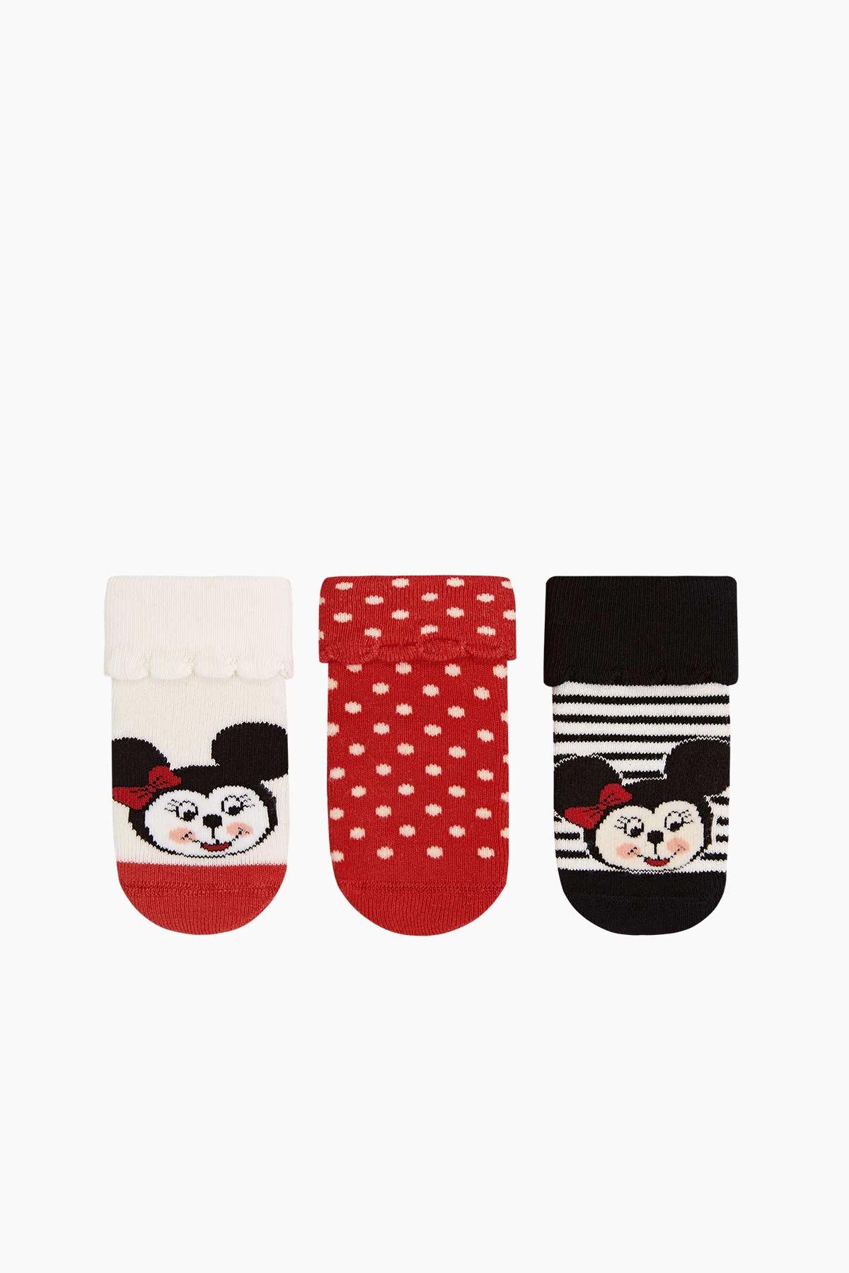 Bross - 3'lü Paket Minnie Desenli Taban Altı Kaydırmaz Baskılı Havlu Bebek Çorabı