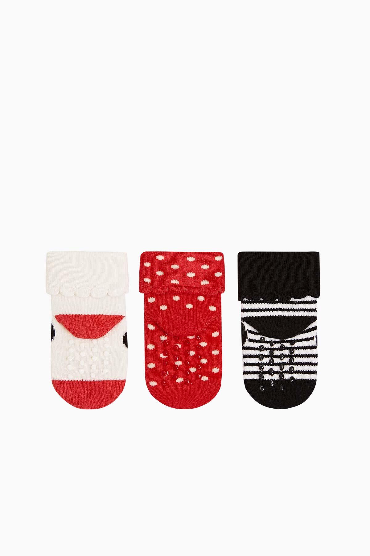 Bross 3'lü Paket Minnie Desenli Taban Altı Kaydırmaz Baskılı Havlu Bebek Çorabı