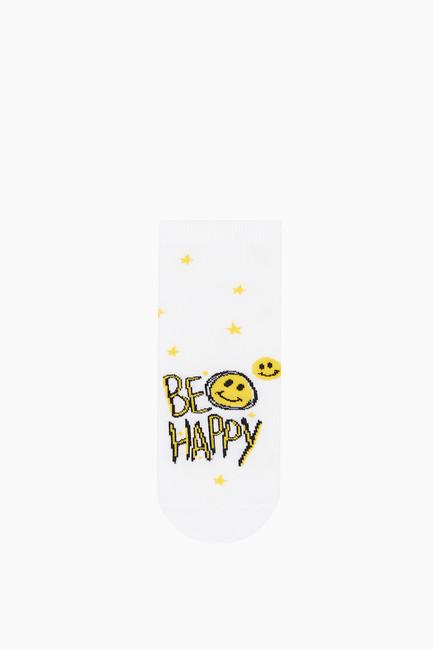 3'lü Paket Mutlu Emoji Desenli Patik Kadın Çorabı - Thumbnail