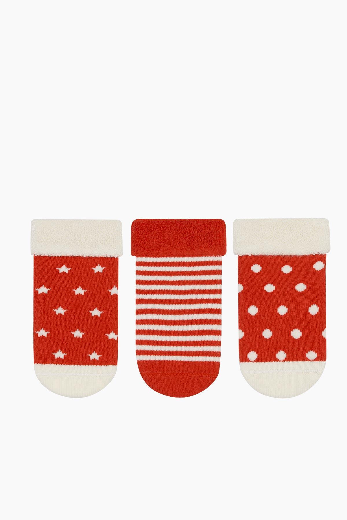 3'lü Paket Puan Çember Yıldız Desenli Taban Altı Kaydırmaz Baskılı Havlu Bebek Çorabı