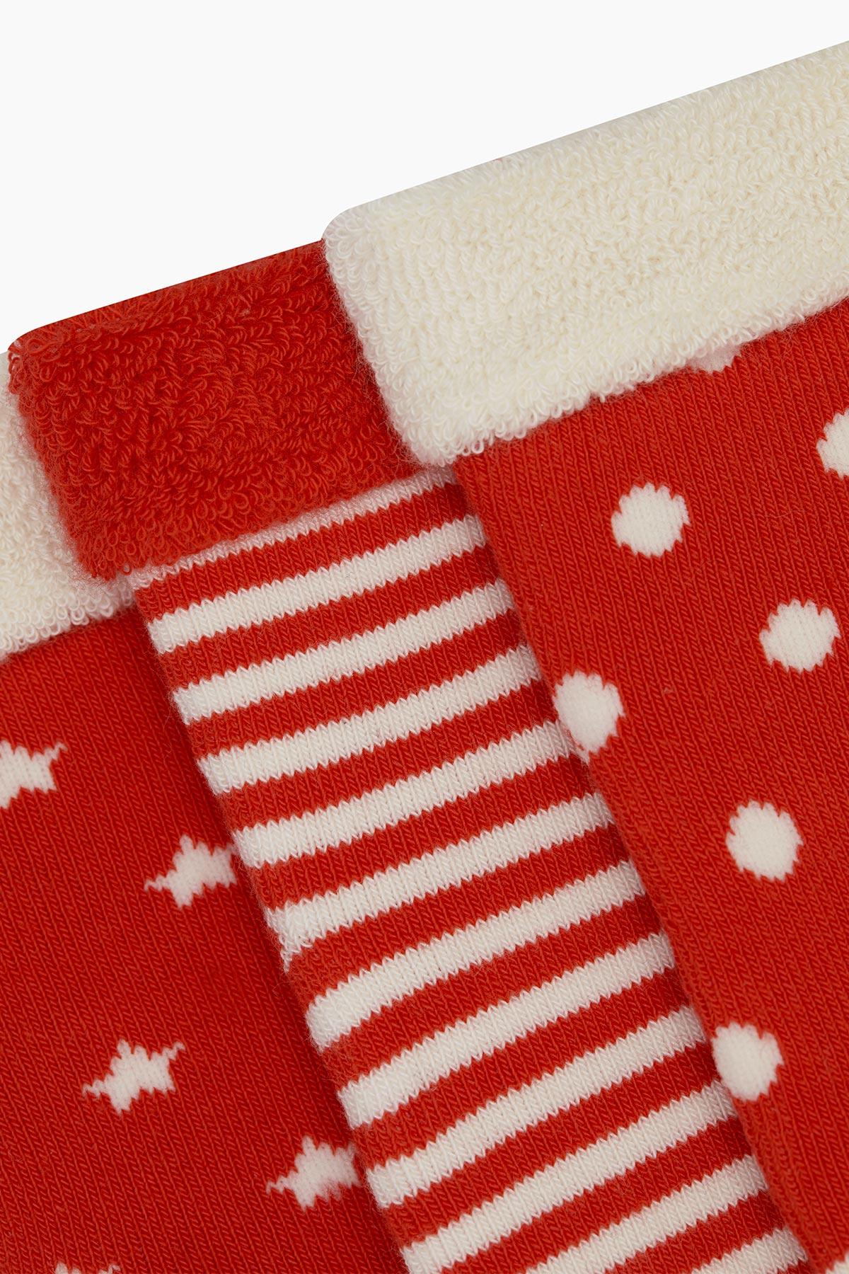 3'lü Paket Puan Çember Yıldız Desenli Taban Altı Kaydırmaz Baskılı Havlu Bebek Çorabı - Thumbnail