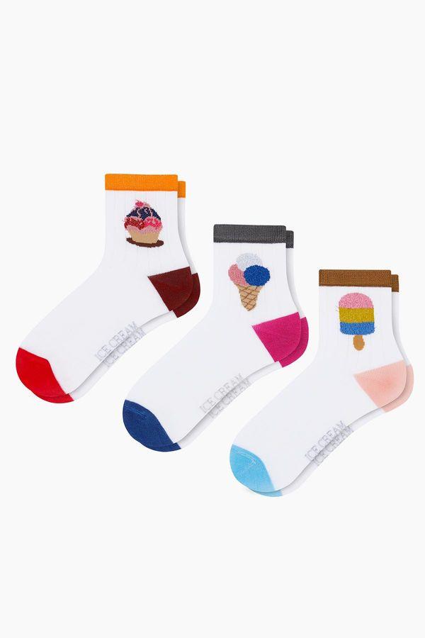 3'lü Paket Simli Dondurma Desenli Çocuk Çorabı