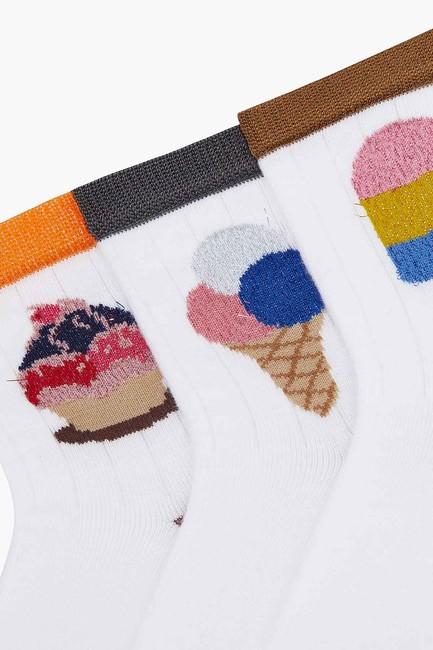 3'lü Paket Simli Dondurma Desenli Çocuk Çorabı - Thumbnail