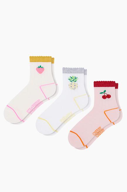 Bross - 3'lü Paket Simli Meyve Desenli Çocuk Çorabı