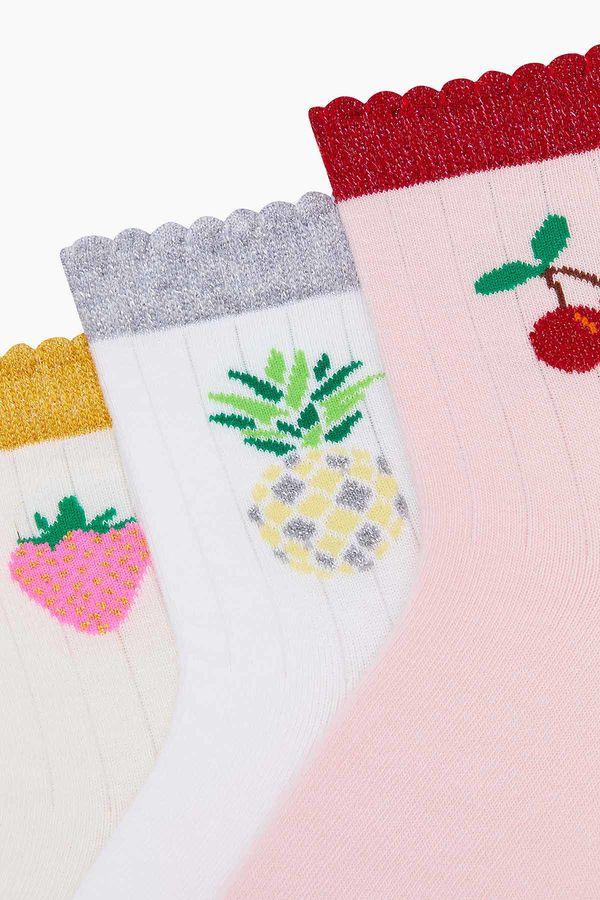 3'lü Paket Simli Meyve Desenli Çocuk Çorabı