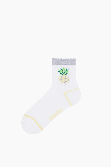 3'lü Paket Simli Meyve Desenli Çocuk Çorabı - Thumbnail