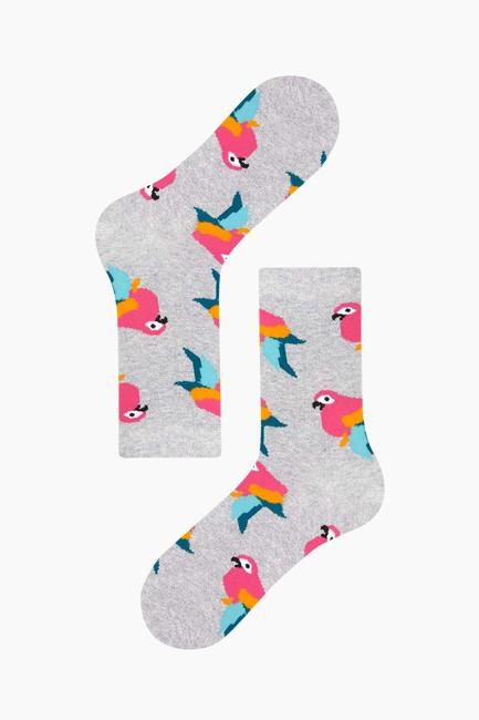 3'lü Paket Simli Tropik Kuş Desenli Kadın Çorabı - Thumbnail
