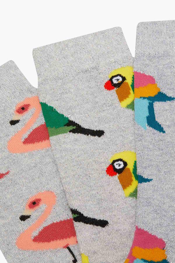 3'lü Paket Simli Tropik Kuş Desenli Kadın Çorabı