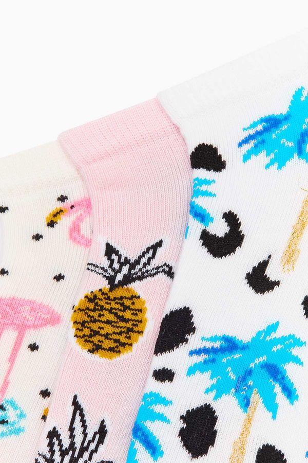 3'lü Paket Tropik Desenli Patik Kadın Çorabı
