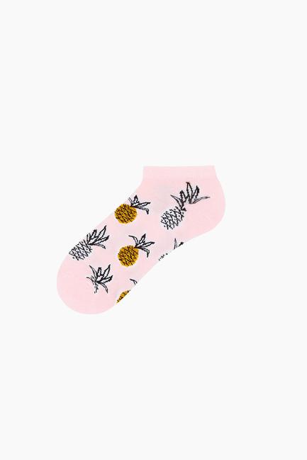 3'lü Paket Tropik Desenli Patik Kadın Çorabı - Thumbnail