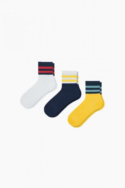 Bross - Bross 3'lü Renkli Bileği Çemberli Kadın Çorabı