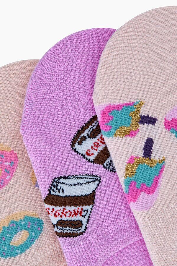 3'lü Tatlı Desenli Kadın Babet Çorabı