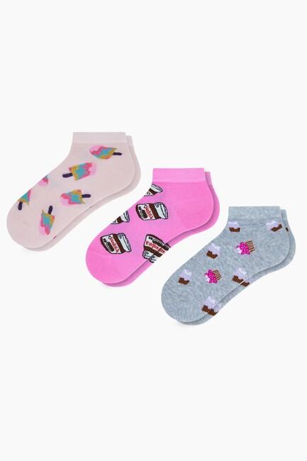Bross - 3'lü Tatlı Desenli Patik Kadın Çorabı