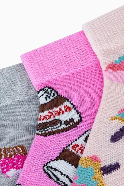 3'lü Tatlı Desenli Patik Kadın Çorabı - Thumbnail