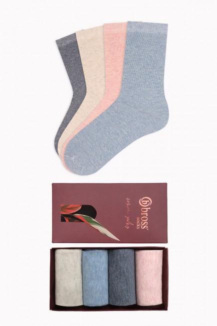 Bross - Bross 4'lü Kutulu Yazlık Renkli Kadın Çorabı