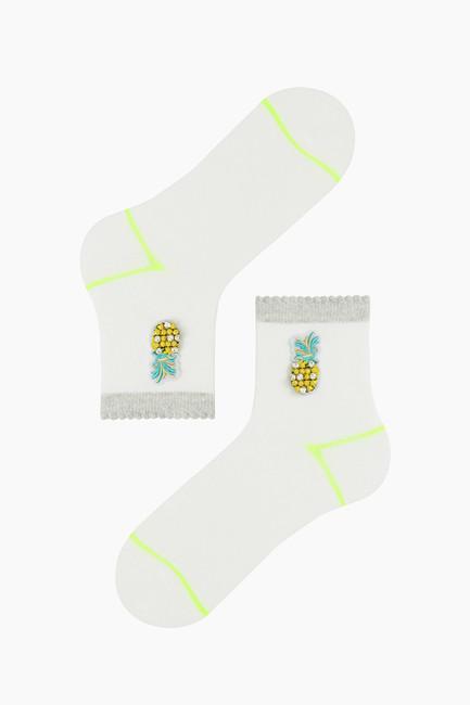Ananas Aksesuarlı Kadın Çorabı - Thumbnail