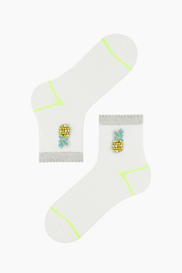 Ananas Aksesuarlı Kadın Çorabı
