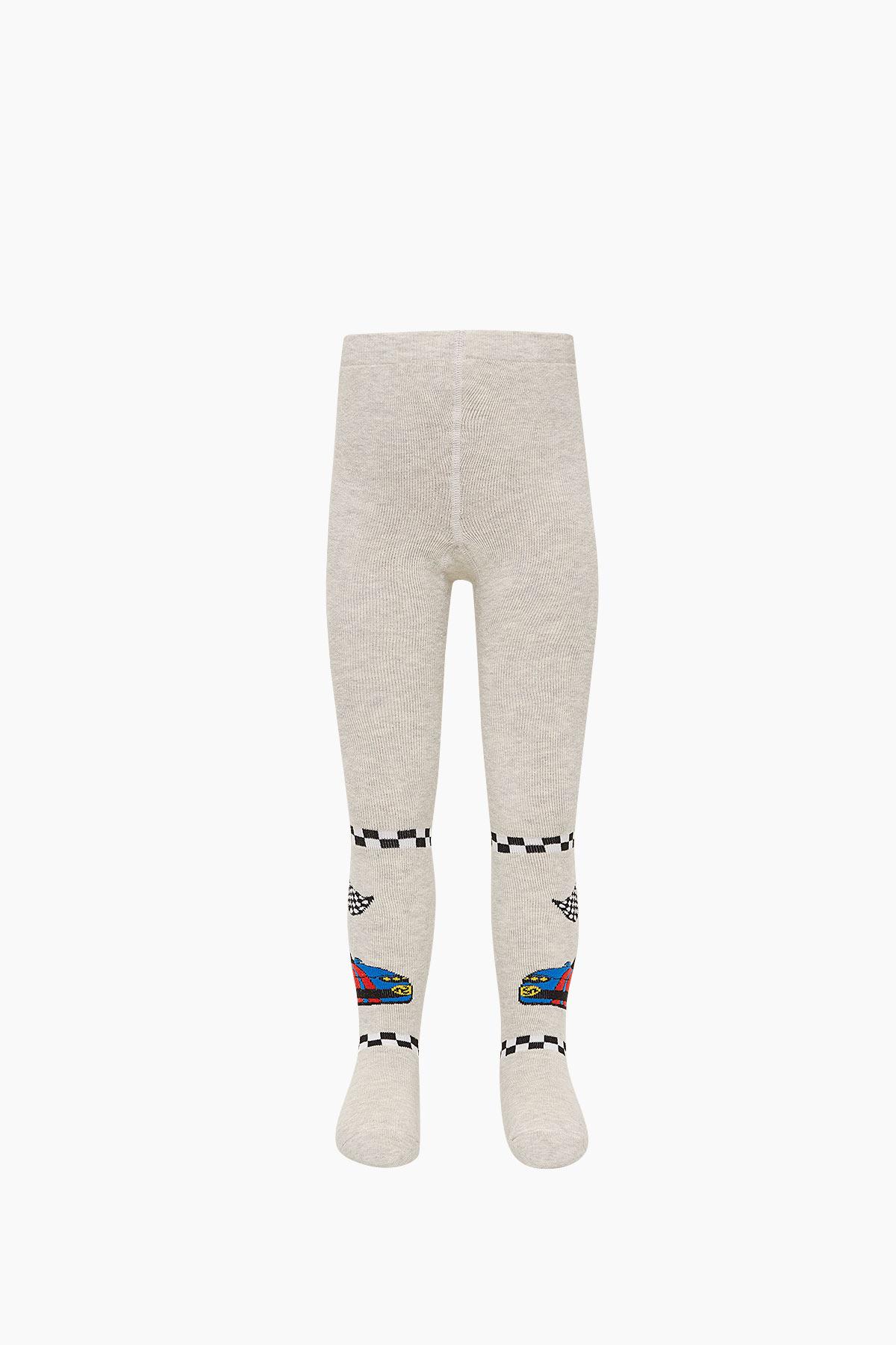 Bross Araba Desenli Havlu Külotlu Çocuk Çorabı