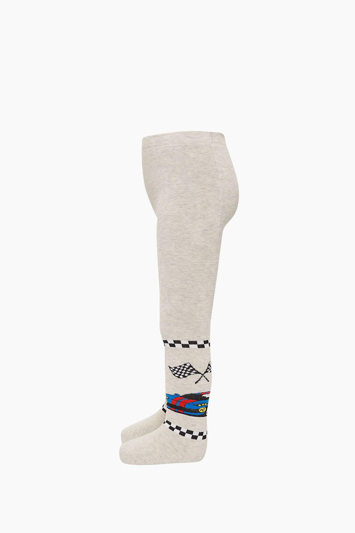 Bross Araba Desenli Havlu Külotlu Çocuk Çorabı - Thumbnail