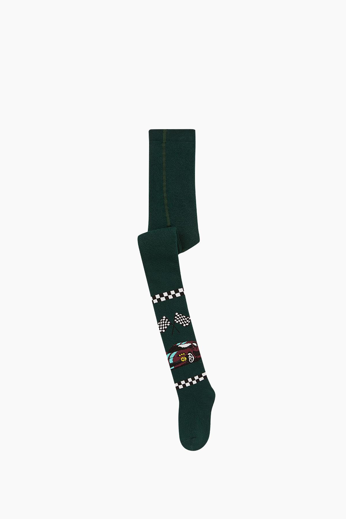 Bross - Bross Araba Desenli Havlu Külotlu Çocuk Çorabı