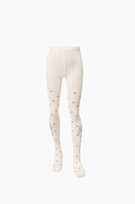 Awesome Written Star Pattern Kids Tights - Thumbnail