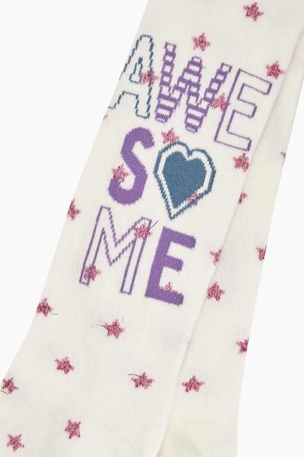 Awesome Yazılı Yıldız Desenli Çocuk Külotlu Çorap - Thumbnail