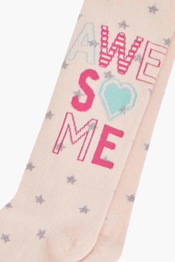 Awesome Yazılı Yıldız Desenli Çocuk Külotlu Çorap