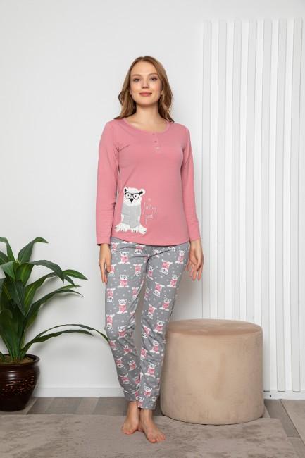 Bross - Ayı Desenli Düğmeli Uzun Kollu Kadın Pijama Takımı