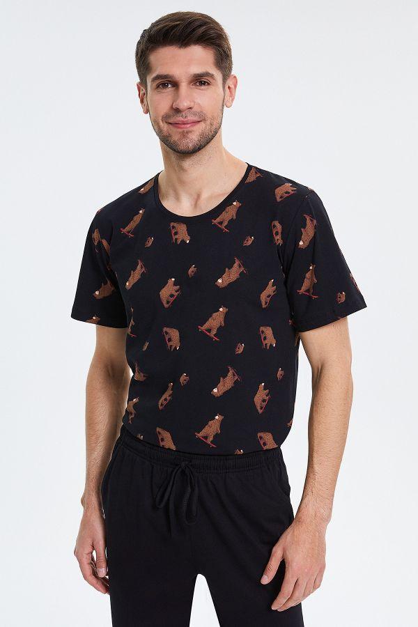 Ayı Desenli Kısa Kollu Erkek Pijama Takımı