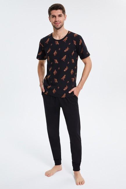 Bross - Bärenmuster Kurzarm Herren Pyjama Set