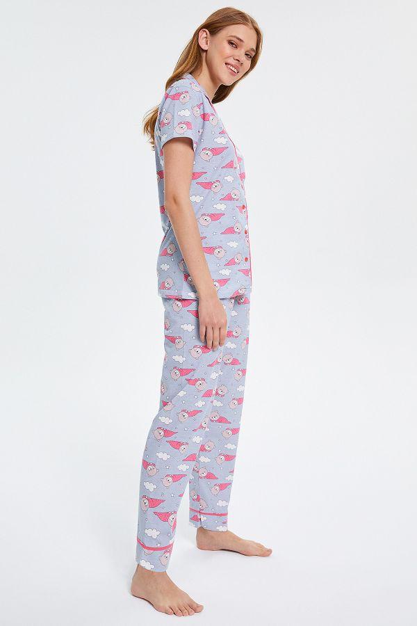 Ayıcık Desenli Düğmeli Kısa Kollu Kadın Pijama Takımı