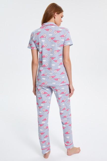 Ayıcık Desenli Düğmeli Kısa Kollu Kadın Pijama Takımı - Thumbnail