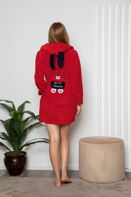 Bross - Bear Patterned Hooded Women's Dressing Grown