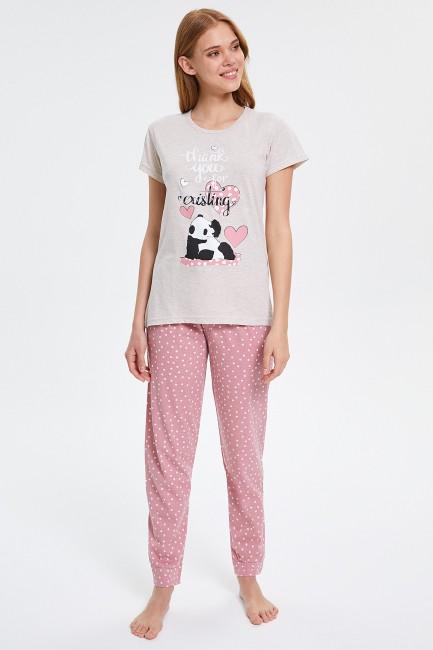 Bross - Benekli Panda Desenli Kısa Kollu Kadın Pijama Takımı