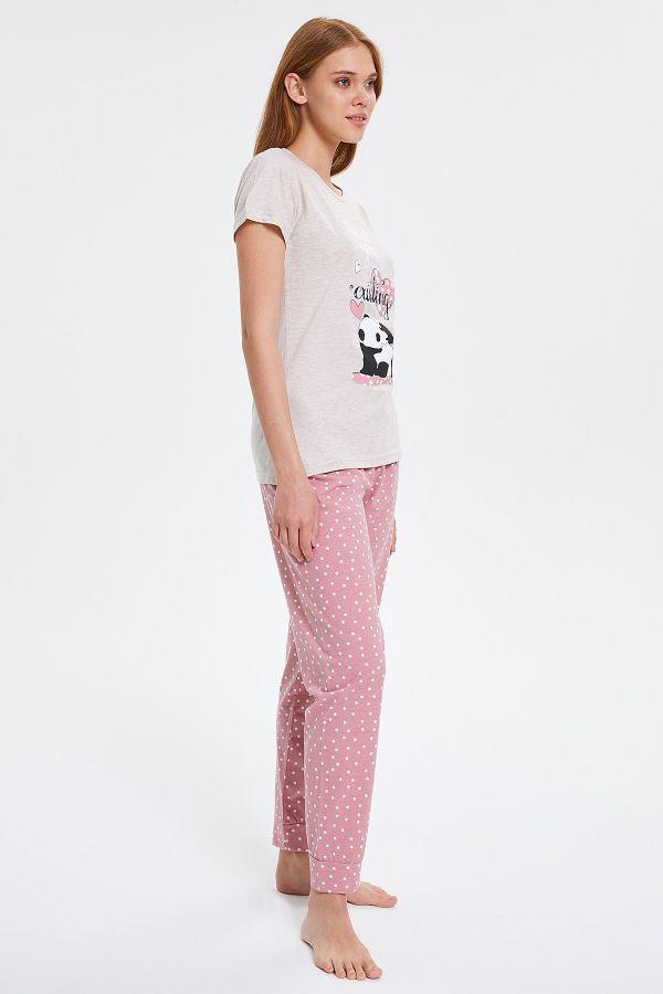 Benekli Panda Desenli Kısa Kollu Kadın Pijama Takımı