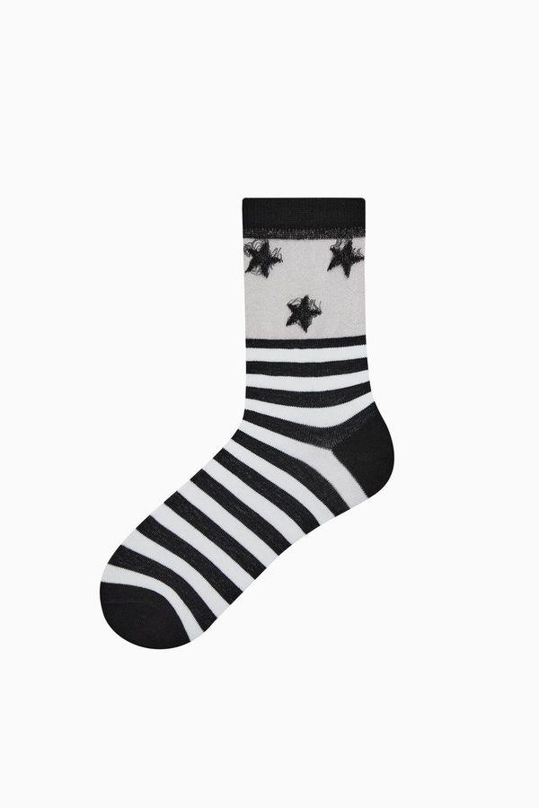 Bross Bileği Floş Yıldız Desenli Kadın Çorabı