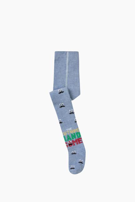 Bross - Bıyık Desenli Çocuk Külotlu Çorap