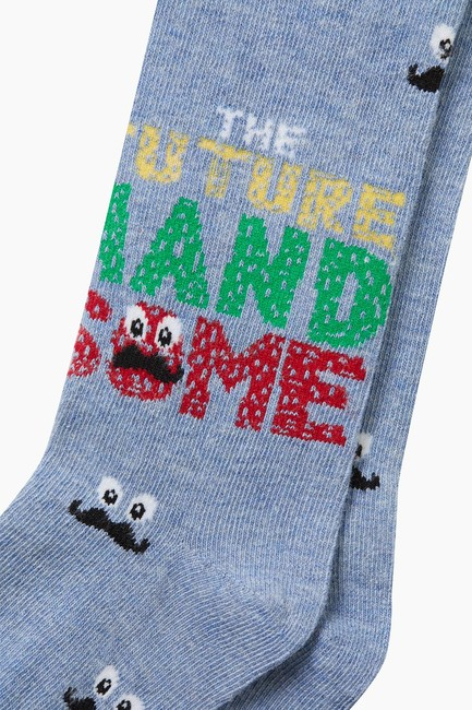 Bıyık Desenli Çocuk Külotlu Çorap - Thumbnail